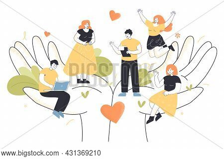 Tiny Office Employees Working In Abstract Caring Hands. Flat Vector Illustration. Wellbeing, Help, S