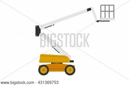 Boom Lift Or Cherry Picker Vector Icon. Aerial Work Platform Or Elevator. Consist Of Telescopic Boom