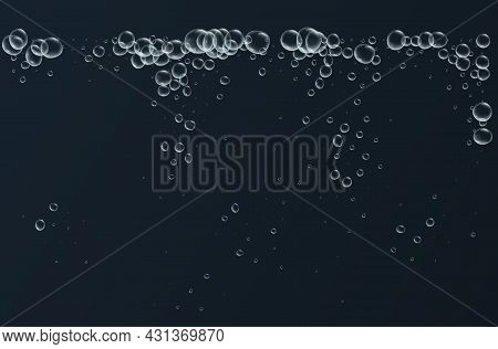 Transparent Fizzy Bubbles. Sparkles Champagne. Fizzy Pop And Effervescent Drink. Abstract Fresh Soda