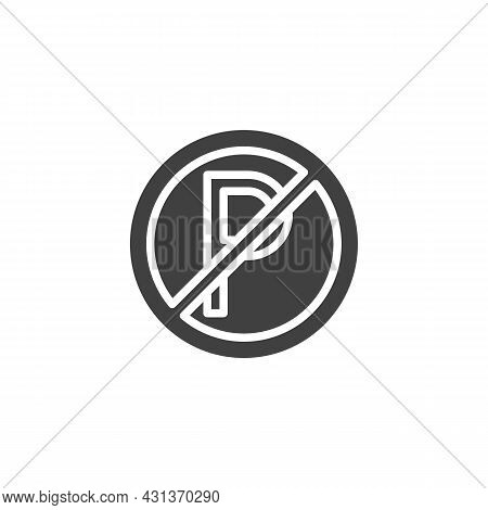 No Parking Sign Vector Icon. Filled Flat Sign For Mobile Concept And Web Design. Traffic Parking Ban