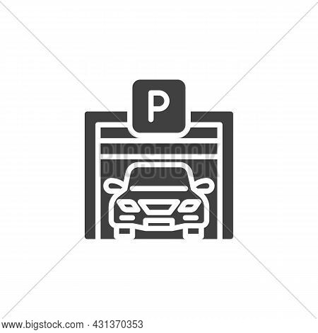 Car Parking Garage Vector Icon. Filled Flat Sign For Mobile Concept And Web Design. Auto Parking Gat