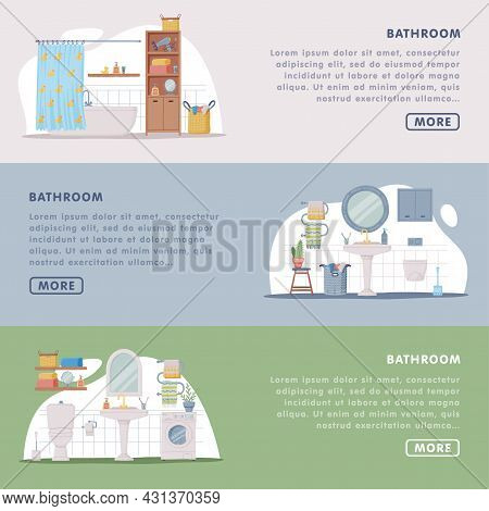 Landing Page With Bathroom Or Washroom Interior Containing Bathtub, Sink And Toilet Bowl Vector Temp