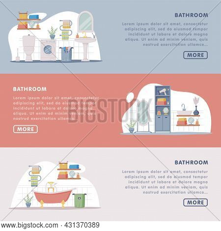 Landing Page With Bathroom Or Washroom Interior Containing Toilet Bowl, Bathtub And Cabinet Vector T
