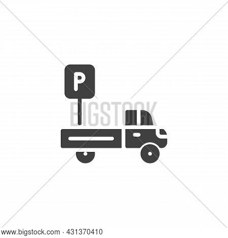 Truck Parking Sign Vector Icon. Filled Flat Sign For Mobile Concept And Web Design. Vehicle Parking