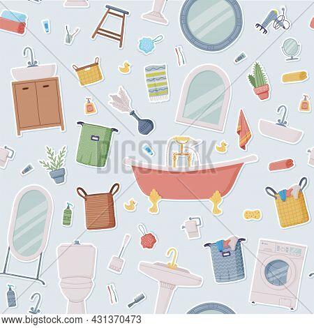 Bathroom Or Washroom With Bathtub, Wash Basin And Mirror Vector Seamless Pattern