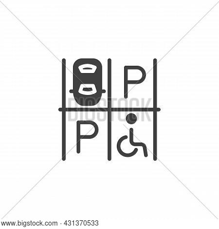 Car Parking Zone Vector Icon. Filled Flat Sign For Mobile Concept And Web Design. Parking Lot Glyph