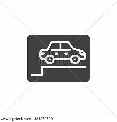 Car Parking Area Vector Icon. Filled Flat Sign For Mobile Concept And Web Design. Parking Zone Glyph