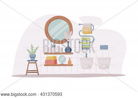 Bathroom Or Washroom Interior With Sink, Mirror And Bidet Vector Illustration