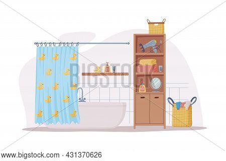 Bathroom Or Washroom Interior With Cabinet, Bathtub And Laundry Basket Vector Illustration