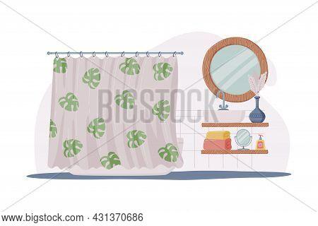 Bathroom Or Washroom Interior With Mirror, Bathtub And Shower Curtain Vector Illustration