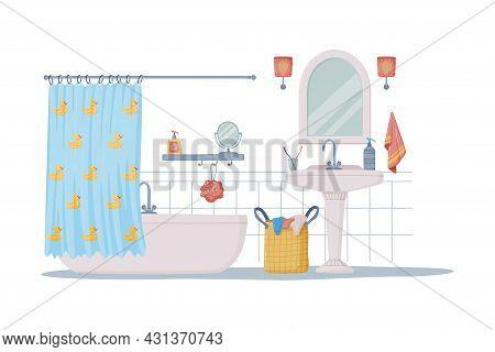 Bathroom Or Washroom Interior With Bathtub, Sink And Mirror Vector Illustration