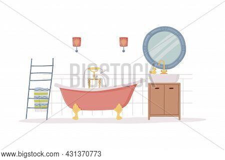 Bathroom Or Washroom Interior With Sink, Mirror And Bathtub Vector Illustration