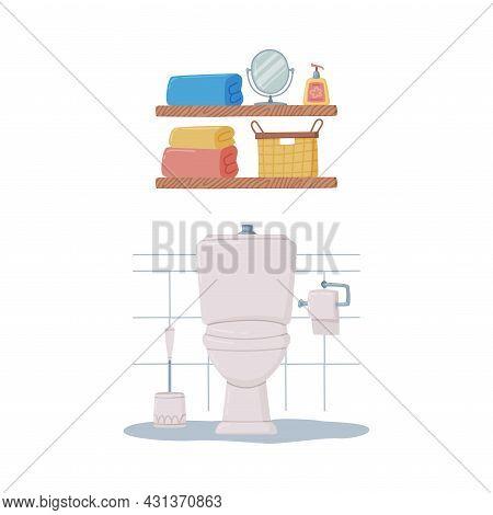Bathroom Or Washroom Interior With Toilet Bowl And Shelf Vector Illustration