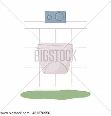 Bathroom Or Washroom Interior With Toilet Bowl Or Bidet Vector Illustration