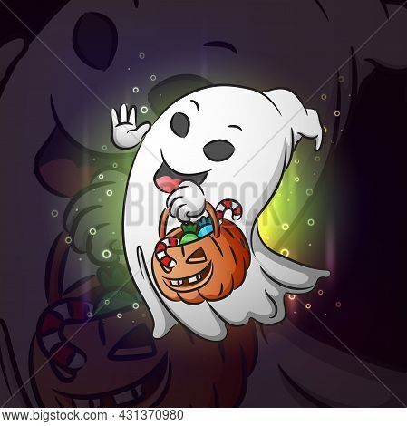 The Ghost With The Pumpkin Head For Esport Logo Design Of Illustration