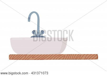 White Bathroom Sink Basin With Tap And Shelf Isolated On White Background Vector Illustration