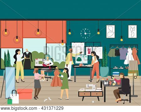 Seamstress Working On Sewing Machine, Tailor Making Patterns, Vector Illustration. Tailoring Worksho
