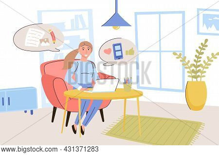 Blogging Concept. Woman Blogger Writes Articles And Publishes Photos On Personal Blog, Communicates
