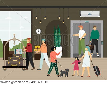 Hotel Elevator, Guests, Porter With Luggage Trolley, Flat Vector Illustration. Hotel Service. Hospit