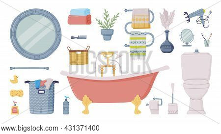 Bathroom Or Washroom With Bathtub, Laundry Basket And Mirror With Objects For Personal Hygiene Vecto