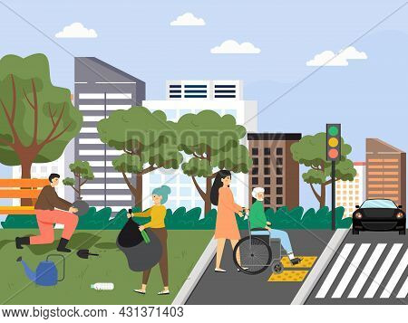 Volunteers Helping Disabled, Collecting Garbage, Planting Trees In The Park, Flat Vector Illustratio