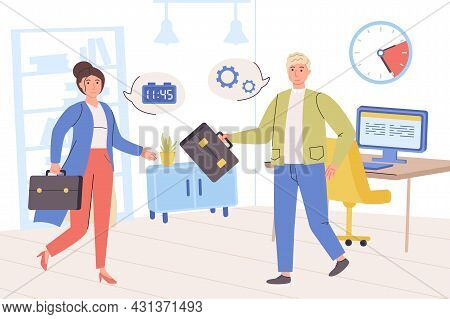 Time Management Concept. Man And Woman Work Together In Office, Planning Work Tasks, Organize Workfl