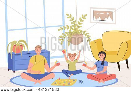 Family Home Activity Concept. Father, Mother And Daughter Playing Board Game While Sitting On Living