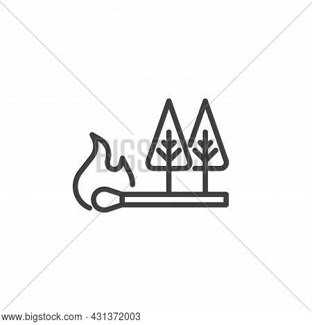Forest Fire Line Icon. Linear Style Sign For Mobile Concept And Web Design. Burning Match And Forest