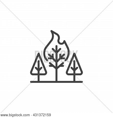 Wildfire In Forest Line Icon. Linear Style Sign For Mobile Concept And Web Design. Burning Forest Tr
