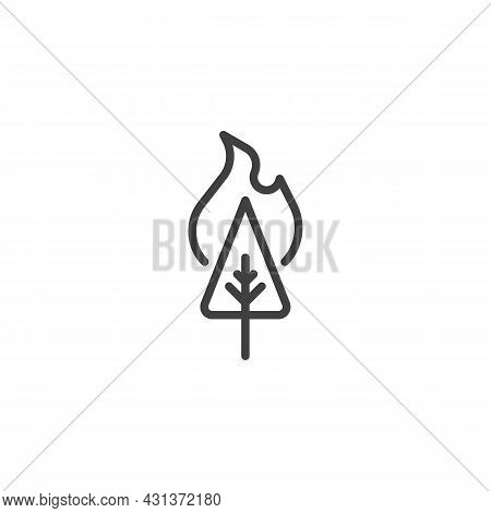 Forest Fire Line Icon. Linear Style Sign For Mobile Concept And Web Design. Wildfire Forest Tree Out