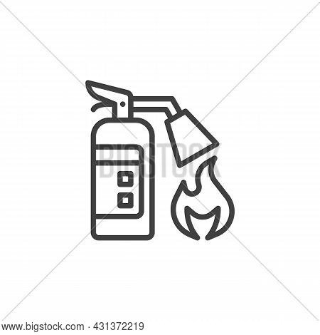 Fire Extinguisher Line Icon. Linear Style Sign For Mobile Concept And Web Design. Extinguisher And F
