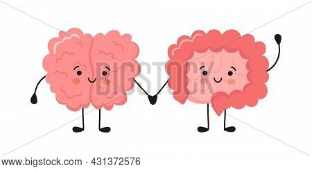 Kawaii Happy Human Brain And Funny Intestine Characters. Hand Drawn Symbol Of The Communication Betw