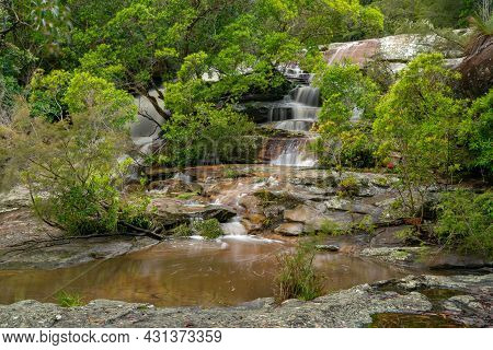 Long Exposure Shot Of The Top Section Of Somersby Falls Near Gosford On The Nsw Central Coast