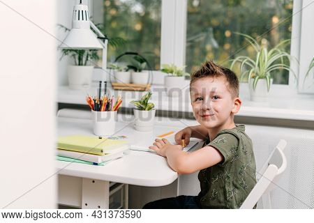 Distance Learning Online Education. Caucasian Smile Kid Boy Studying At Home With Book, Writing In N