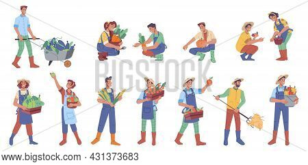 Man And Woman Farmers With Harvest Isolated Flat Cartoon Characters. Vector People Holding Fruits An