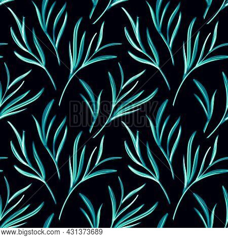 Artistic Seamless Pattern With Abstract Leaves. Seamless Pattern With Plant Elements. Blue Winter Br
