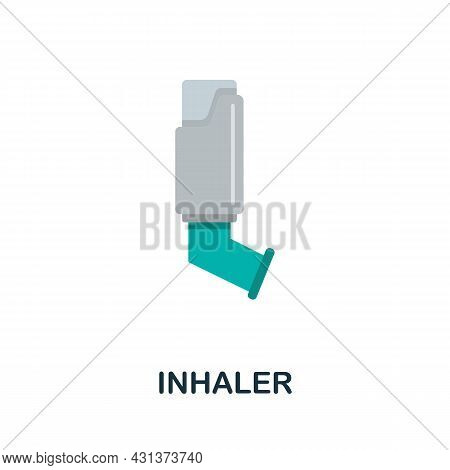 Inhaler Flat Icon. Colored Sign From Oxygen Collection. Creative Inhaler Icon Illustration For Web D