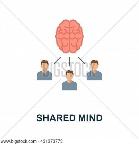Shared Mind Flat Icon. Colored Sign From Personality Collection. Creative Shared Mind Icon Illustrat