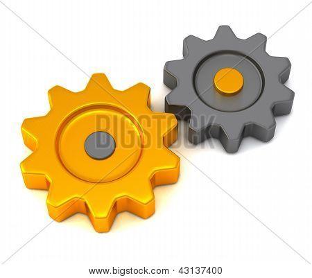 Metallic and golden gears, 3d