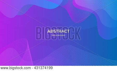 Abstract Geometric Background With Wavy Composition And Purple Gradient