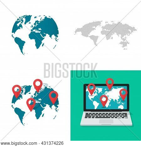 Large World Map Shape Vector Set As Globe Earth Gps Location Navigation Pin Pointers And Online Digi