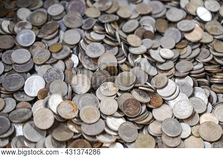 Old Ancient Coins Background. Old Ancient Coins Background. Many Old Copper Coins In The Chest As A