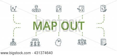 Map Out Icon Set. Contains Editable Icons Theme Such As Decision Making, Strategic Plan, Memo And Mo