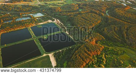 Aerial View Retention Basins, Wet Pond, Wet Detention Basin Or Stormwater Management Pond, Is An Art