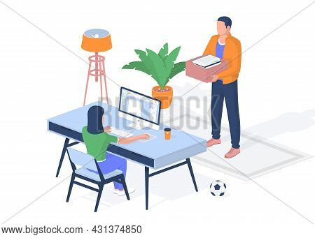 Online Education In Hostel During Quarantine. Teenager Sits At Computer Fulfilled Objective Received