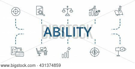 Ability Icon Set. Contains Editable Icons Theme Such As Ambitions, Stability, Quick Changes And More