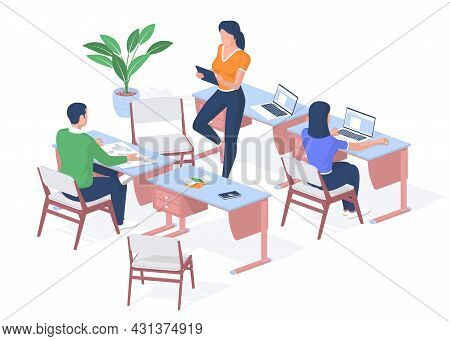 Lesson In Modern College. Student Examines Map Of World On Desk. Teenager Works Laptop. Teacher With