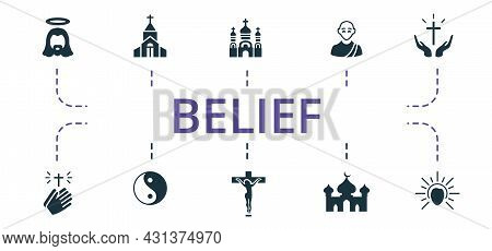 Belief Icon Set. Contains Editable Icons Theme Such As Crucifixion, Mosque, Monk And More.