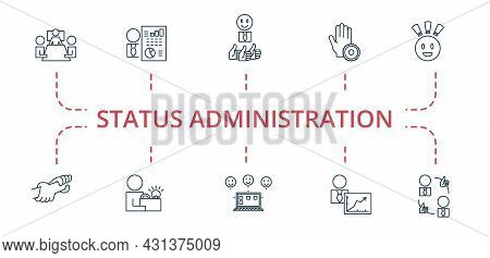 Status Administration Icon Set. Contains Editable Icons Theme Such As Outsource Management, Business