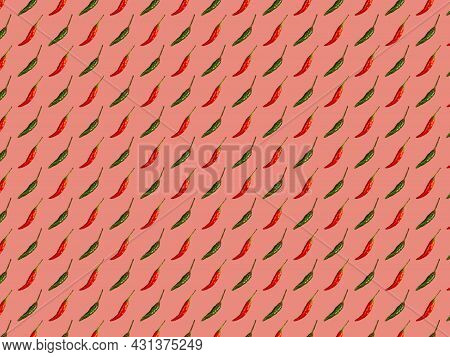 Alternating Red And Green Hot Pepper Pods On Pink Background, Culinary Pattern